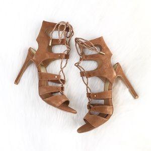 Dolce Vita | cognac suede gladiator laceup heels